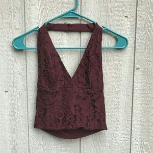 Maroon Lace TOPSHOP Halter Top Size Small